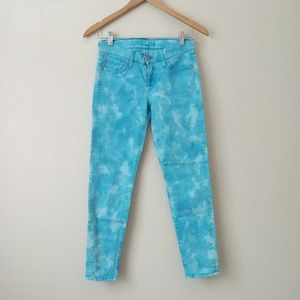 7 For All Mankind Tie Dye Ankle Skinny Jeans